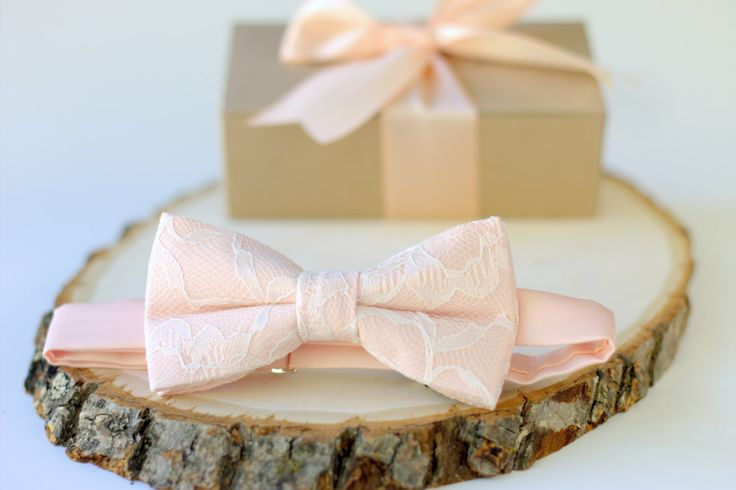 Peach and Ivory Lace Bow Tie - Peach Mens Bow Tie - Peach Pre-Tied Bow Tie - Peach Bow Tie - Ivory and Peach Bow Tie - Wedding Bow Tie by OneDaintyTulip on Etsy https://www.etsy.com/listing/455184908/peach-and-ivory-lace-bow-tie-peach-mens