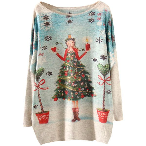 Multicolor Batwing Sleeve Christmas Girl Print Knitwear ($26) ❤ liked on Polyvore featuring tops, sweaters, colorful sweaters, green top, batwing sleeve tops, christmas tops and multi color sweater