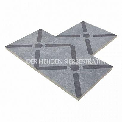 Duostone 60x60x4 cm Dessin Cross Black on Grey