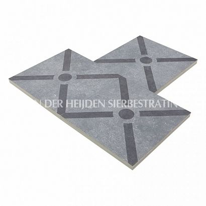 Duostone 60x60x4 cm Dessin Cross Black on Grey