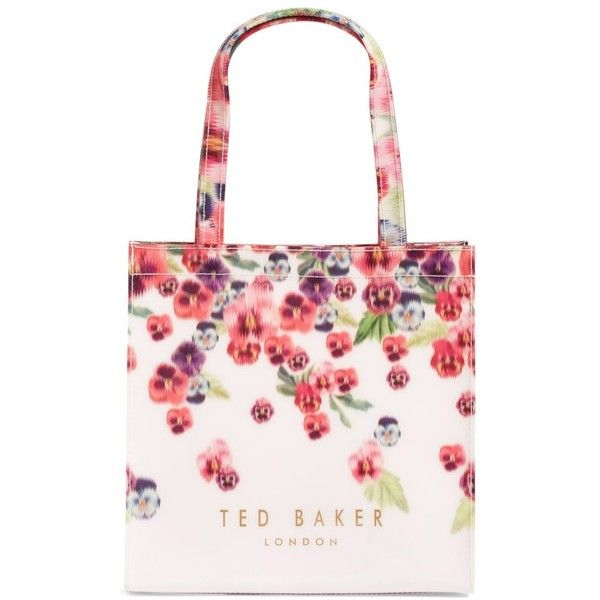 Women's Ted Baker London Small Icon Scatter Pansy Tote ($49) ❤ liked on Polyvore featuring bags, handbags, tote bags, baby pink, tote handbags, fold over tote, handbags totes, ted baker purse and tote purses
