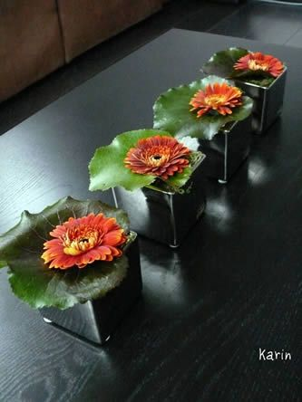 Table decoration simple style - Gebera or antoher flower with Galax leaf - diy