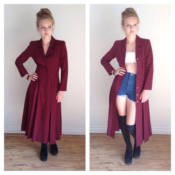 90s Duster Dress Button Down Dress Blazer Dress by MileZeroVintage
