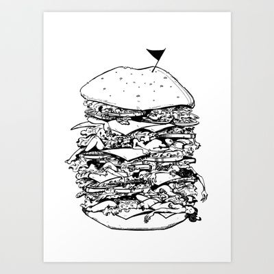 Unconventional Burger Art Print by The Green Grass Box - $17.68