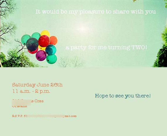 Balloons in the sun. Party invitation.