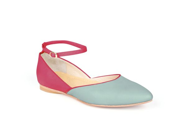 The Modern Mary-Jane by Poppy Barley Made to Measure, colour blocked in Peony and Robin Egg. #Customize your leather colours and hardware. #Handcrafted to your measurements. #Flats #BalletFlats poppybarley.com