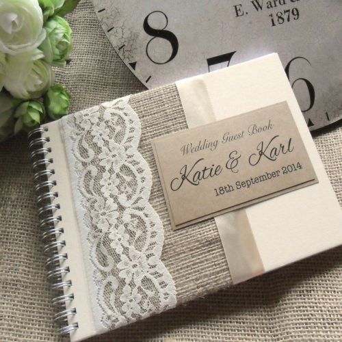 171b3b0340ee Vintage Styled Hessian Lace Wedding Guest Book. Handmade to Order and  Personalised. £15