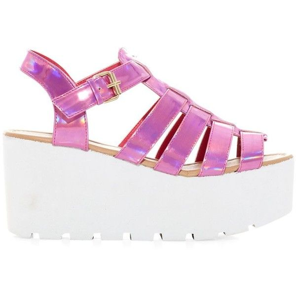Pink Gladiator Flatform Wedges (£30) ❤ liked on Polyvore featuring shoes, sandals, flatform wedge sandals, pink wedge sandals, flatform shoes, wedge heel sandals and wedges shoes