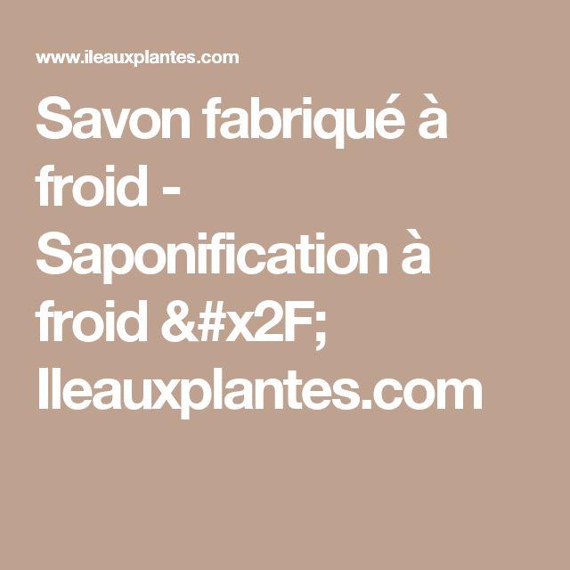 Savon fabriqué à froid - Saponification à froid / Ileauxplantes.com