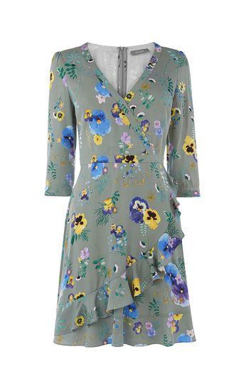 6c1bc149e93 Oasis Green Pressed Flower Wrap Ruffle Dress