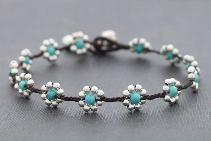 Daisy+Turquoise+Silver+Anklet+by+XtraVirgin+on+Etsy,+$8.00