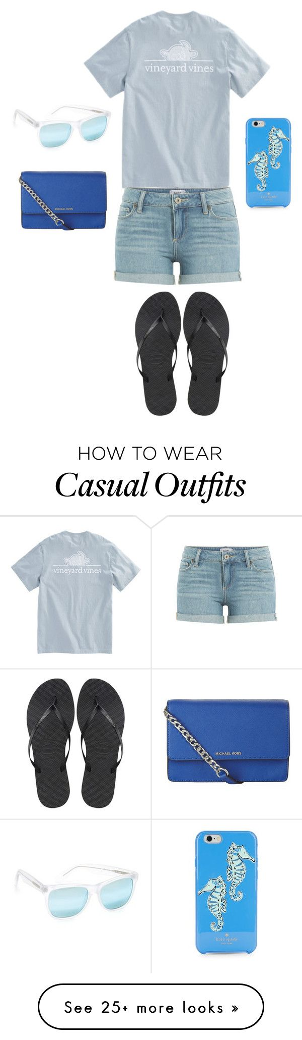 """""""Casual day"""" by tigergirl219 on Polyvore featuring Paige Denim, RetroSuperFuture, Havaianas, MICHAEL Michael Kors and Kate Spade"""