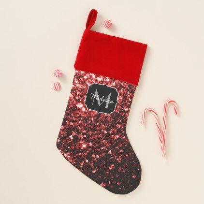Beautiful Glamour Red Glitter sparkles Monogram Christmas Stocking - glamour gifts diy special unique