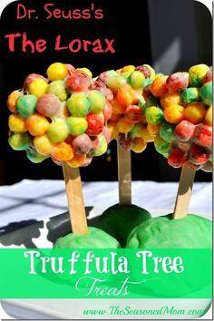 "Dr. Seuss's ""The Lorax"" Truffula Tree Treats! Dr. Seuss Birthday Party Ideas   Dr. Seuss Classroom   Dr. Seuss Crafts   Desserts   Kids Snacks"