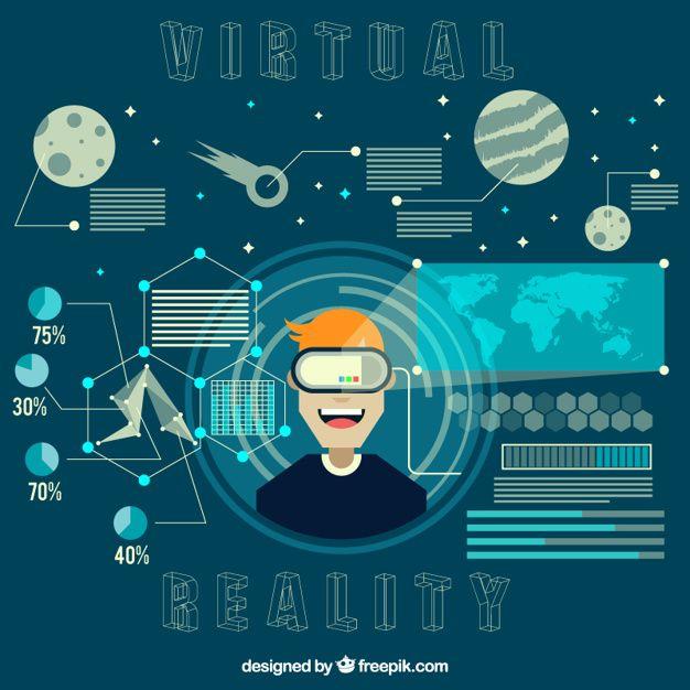 Fondo de niño disfrutando con el espacio virtual Vector Premium