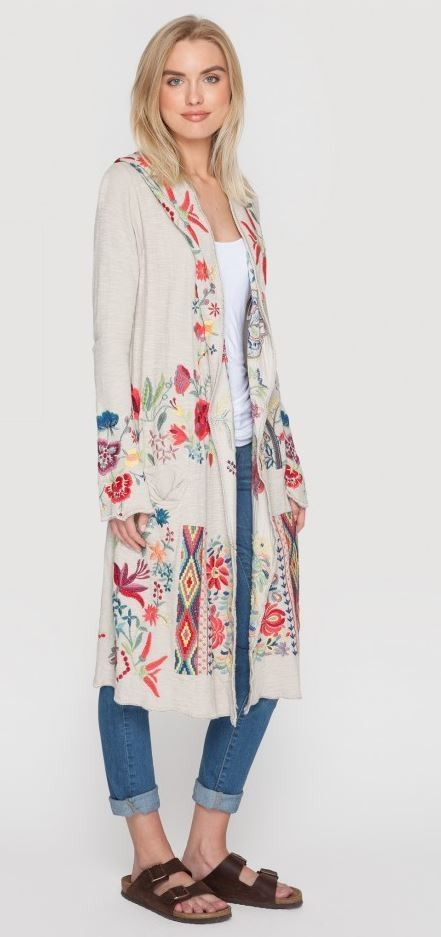 Johnny Was Fylem Long Hoodie - embroidery, duster, beige, floral, western http://www.cowgirlkim.com/johnny-was-spring-2016-fylem-long-hoodie.html - women's tops silk satin blouse, blouse denim, blouse online *ad