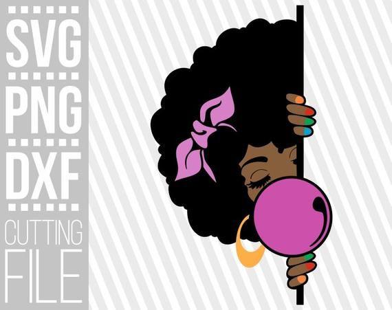 Peeking Black Girl Svg Bubble Gum Svg Melanin Poppin Etsy Nail Design Machine Black Girl Svg