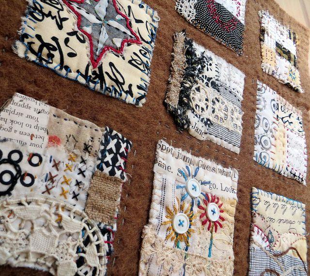text on textiles: Go West by janelafazio, via Flickr - art journal inspiration