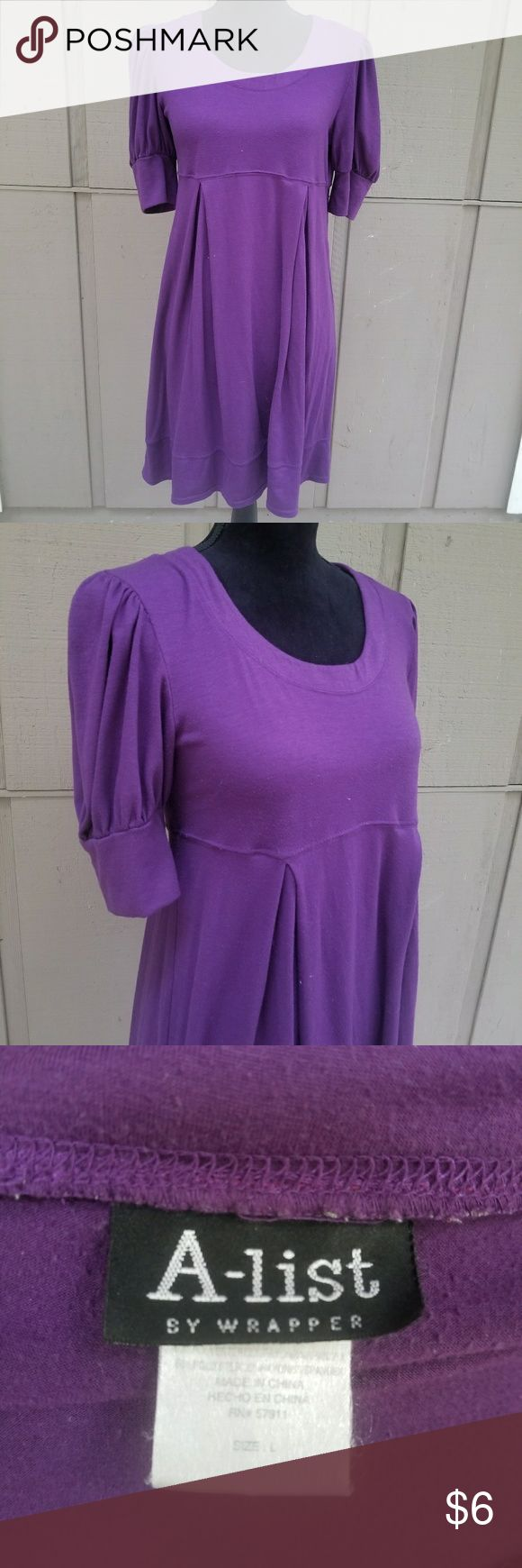 Size Large A-List Purple Short Sleeve Dress Ladies size large A-List purple short sleeved dress. Some small areas of piling, but still a great dress & so cute with leggings! Measurements available upon request, modeled on a size small mannequin. A-list Dresses Mini