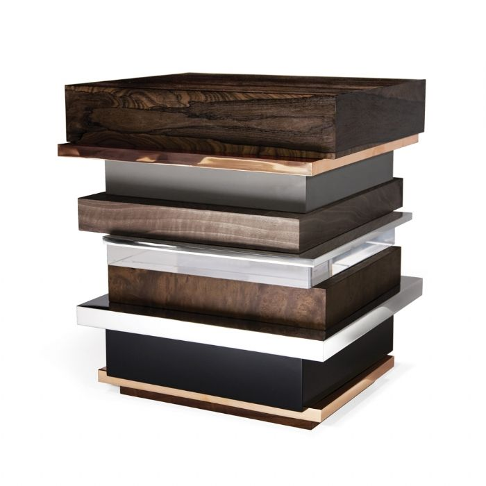 LIPSTICK End Table....layers of fabulous materials...zincote, bronze, gray lacquer, grey wood, gloss nickel, plexigalss, walnut, black lacquer...even more spectacular in person....