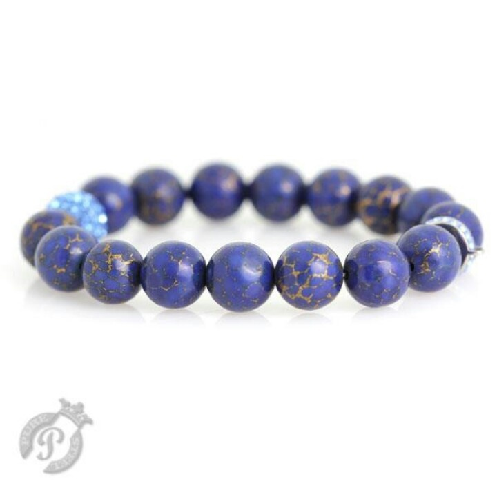 Lapis Charm carrier with swarovski crystal ball