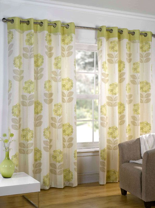 Green U0027Maisyu0027 Lined Curtains With Eyelet Heading   Curtains   Home  Accessories   Home U0026 Furniture