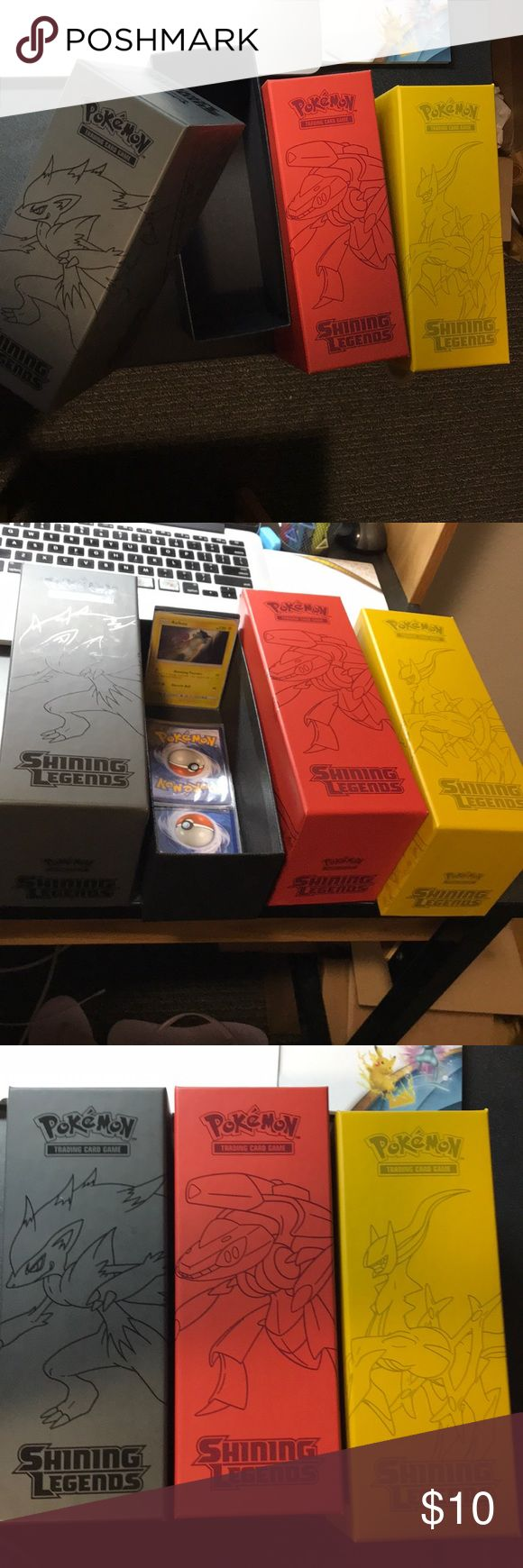 Pokemon card boxes 3 deck boxes for any trading card.  Pokemon shining legends themed  Will throw in pokemon cards when purchased! Pokemon Other
