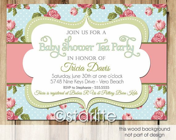 Vintage Tea Blue - Baby Shower Invitation - antique blue, rose, green - tea shower - boy girl - shabby chic PRINTABLE Invitation Design