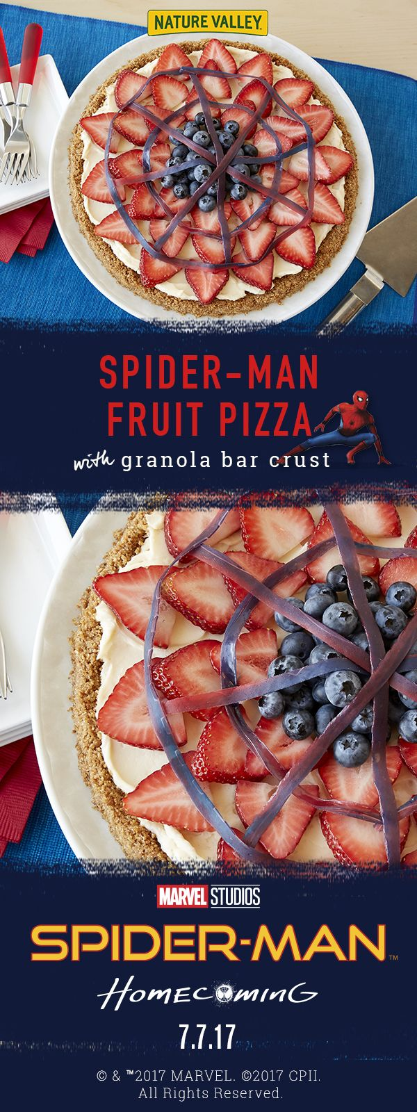 Spider-Man Fruit Pizza: Made with fresh fruit, sweetened cream cheese, and Nature Valley Oats 'n Honey crunchy granola bars.