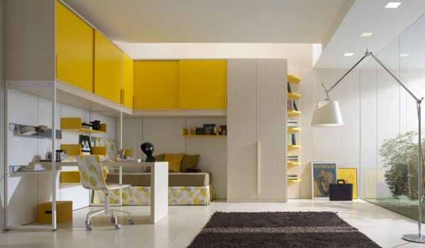 white and yellow teenage bedroom colors
