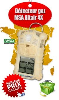 Détecteur de Gaz Portable ALTAIR 4X - Mesure jusqu'à 4 gaz simultanément. Disponible avec plusieurs cellules pour gaz toxiques et infra rouges au choix. Possibilité de configuration spécifique pour chaque client et utilisateur.. Equipé de la fonction détecteur d'immobilité MotionAlert Système de triple alarme haute performance