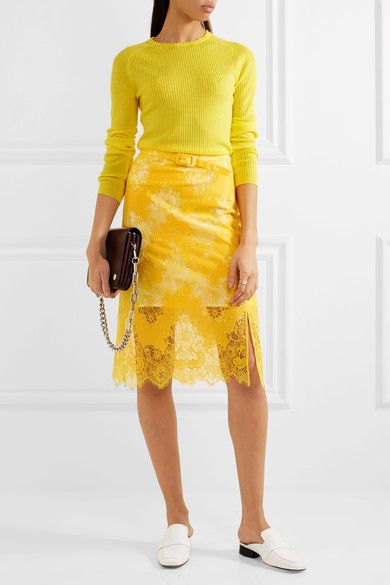 Carven - Pointelle-trimmed Ribbed Wool Sweater - Bright yellow - large