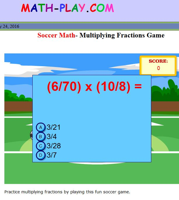 Soccer Maths- Multiplying Fractions Game
