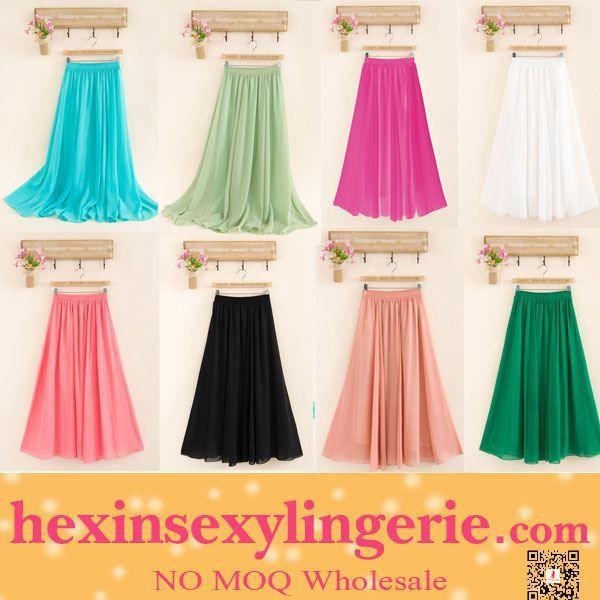 2015 Hot Fashion Cheap High Quality Chiffon Maxi Skirt