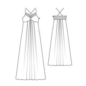 Schnittmuster: Maxi-Kleid - gekreuzte Träger - Download - Sommerkleider - Kleider - Damen - burda style