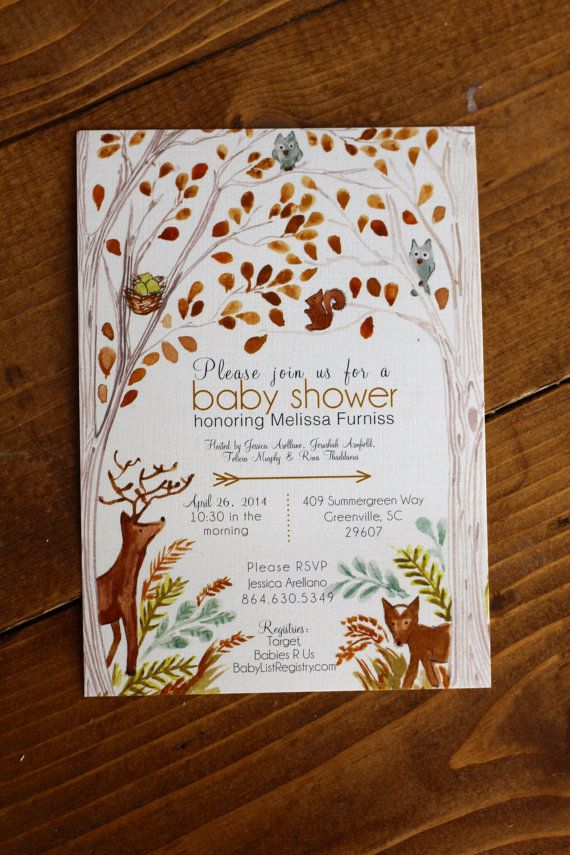 Woodland Forest Baby Shower Invitation by BlueHousePaperie on Etsy