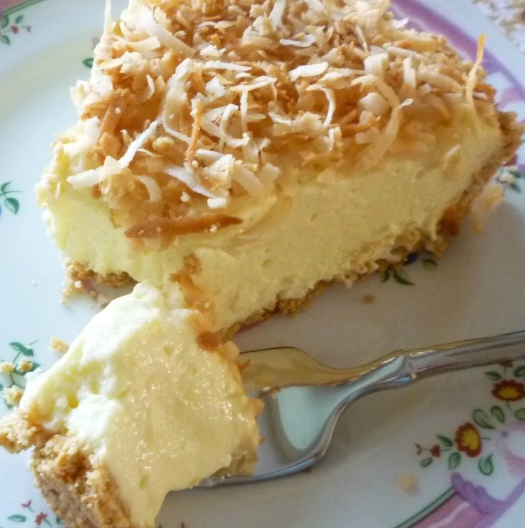 Coconut Bavarian Cream Pie - The resulting pie has the best qualities of a Bavarian cream pie and a traditional cream pie. Creamy... tremble-y.... fluffy.... Perfect.
