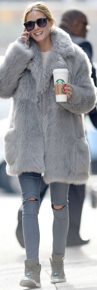 Who made Olivia Palermo's green sneakers, ripped skinny jeans, and gray coat?