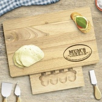 Engraved Large Rectangular Wooden Cheese Board Set - Mum's Cheese