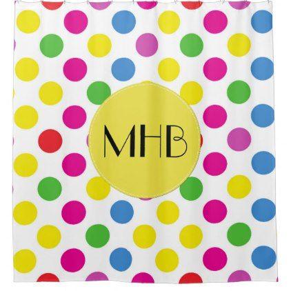 Monogram - Polka Dots Spots - Pink Green Yellow Shower Curtain - shower curtains home decor custom idea personalize bathroom
