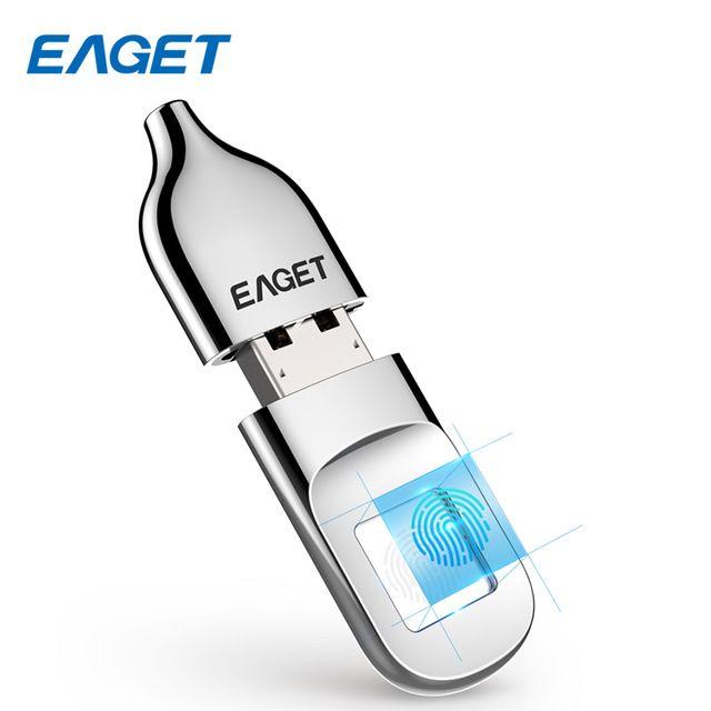 EAGET USB Flash Drive 32 GB Pendrive USB 2.0 Riconoscimento Delle Impronte Digitali di Crittografia Flash Disk da 64 GB di Memoria USB Stick Mini Pen drive
