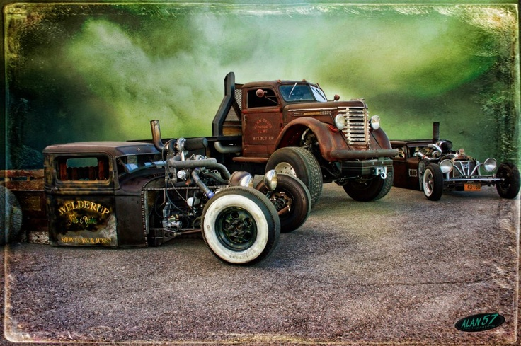 The Diesel Welder-up Rat Rod Family... what a collection of inspirational builds. Keep them coming guys SkullyBloodrider.