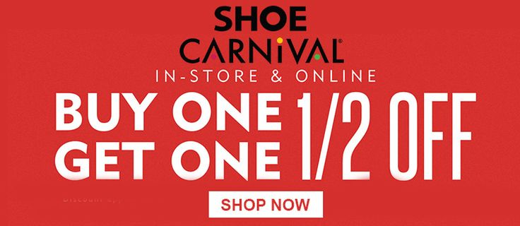 Online Only! Buy One Get One half off.  Store: #ShoeCarnival Scope: Entire Store Ends On : 04/03/2018  Get more deals: http://www.geoqpons.com/Shoe-Carnival-coupon-codes  Get our Android mobile App: https://play.google.com/store/apps/details?id=com.mm.views  Get our iOS mobile App: https://itunes.apple.com/us/app/geoqpons-local-coupons-discounts/id397729759?mt=8
