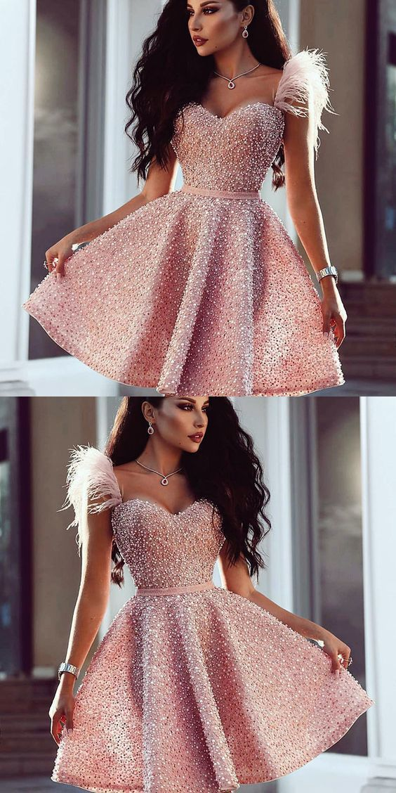 A-Line Sweetheart Pink Beaded Short Prom Dress wit…