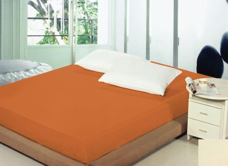 Bawełniane prześcieradło na łóżko koloru ciemnorudego