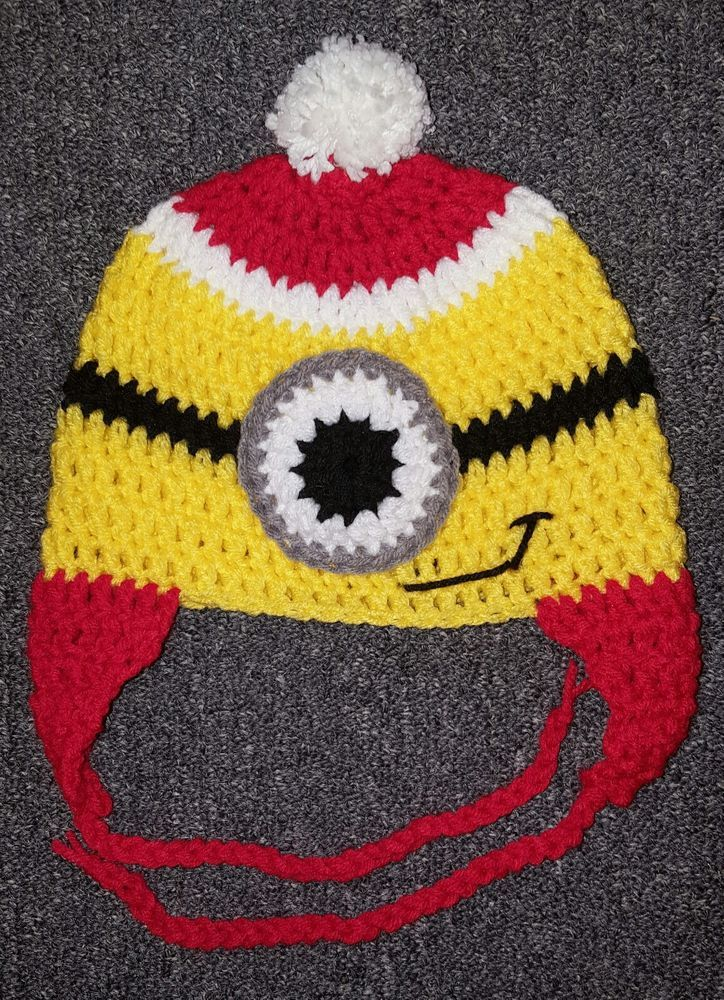 877b3ccae0c Handmade Christmas Minion Toddler Hat 2-5 Years Old Despicable Me Crochet  Knit  Handmade. Handmade Christmas Minion Baby Hat 0-6 Months ...
