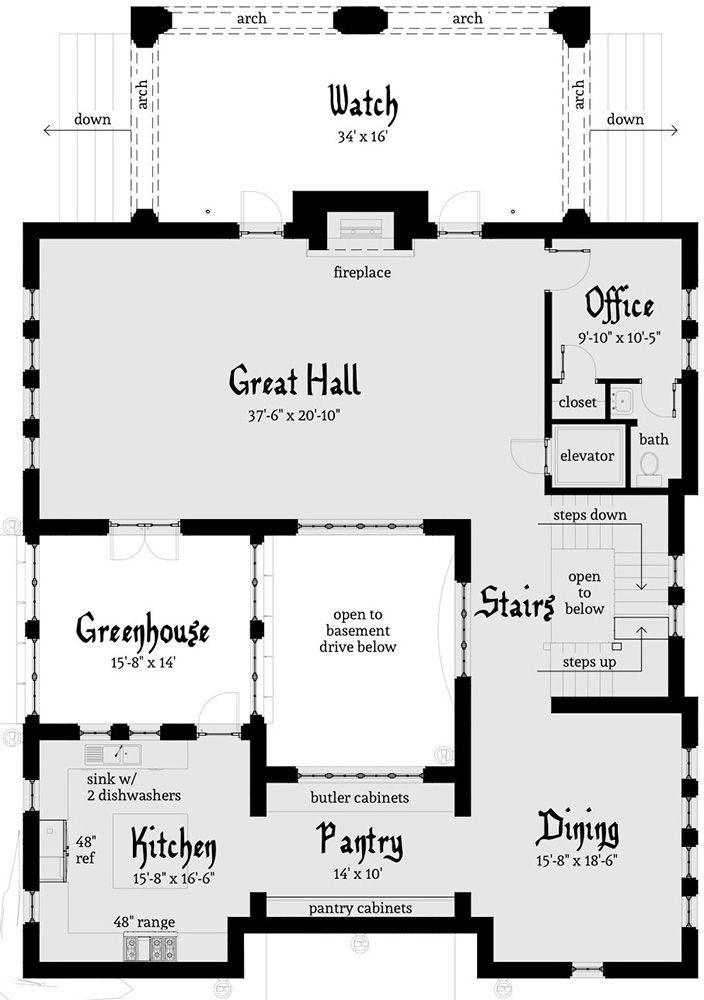 House Plan 028 00107 Luxury Plan 4 462 Square Feet 4 Bedrooms 2 5 Bathrooms In 2021 Castle House Plans Castle Floor Plan Castle Plans