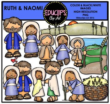 A collection of images based on this story of Ruth & Naomi. The images in this set are:basket of grain, Boaz, falling in love, field of grain, getting married, grain, Naomi, Ruth & Naomi traveling, Ruth in field working, Ruth.22 images (11 in color and the same 11 in B&W)This set is also available (at a big discount) as part of the BIBLE STORIES 2 MEGA BUNDLE.