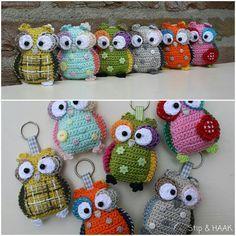 Crochet owl concept. http://stipenhaak.blogspot.com/2013/07/uilenplaag.html Pattern from https://www.etsy.com/listing/150216332/crochet-pattern-owl-hanger-pendant-key?ref=shop_home_active