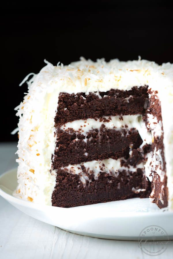 Chocolate Cake with Coconut Cream Filling and Marshmallow Buttercream Frosting - the perfect cake recipe for birthdays, holidays, parties and more!: